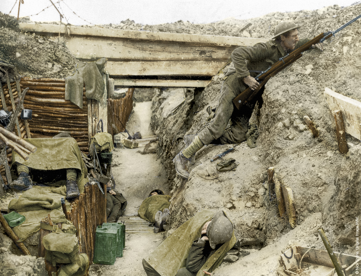 Cheshire Regiment in captured trench; a German trench no less. Near ...