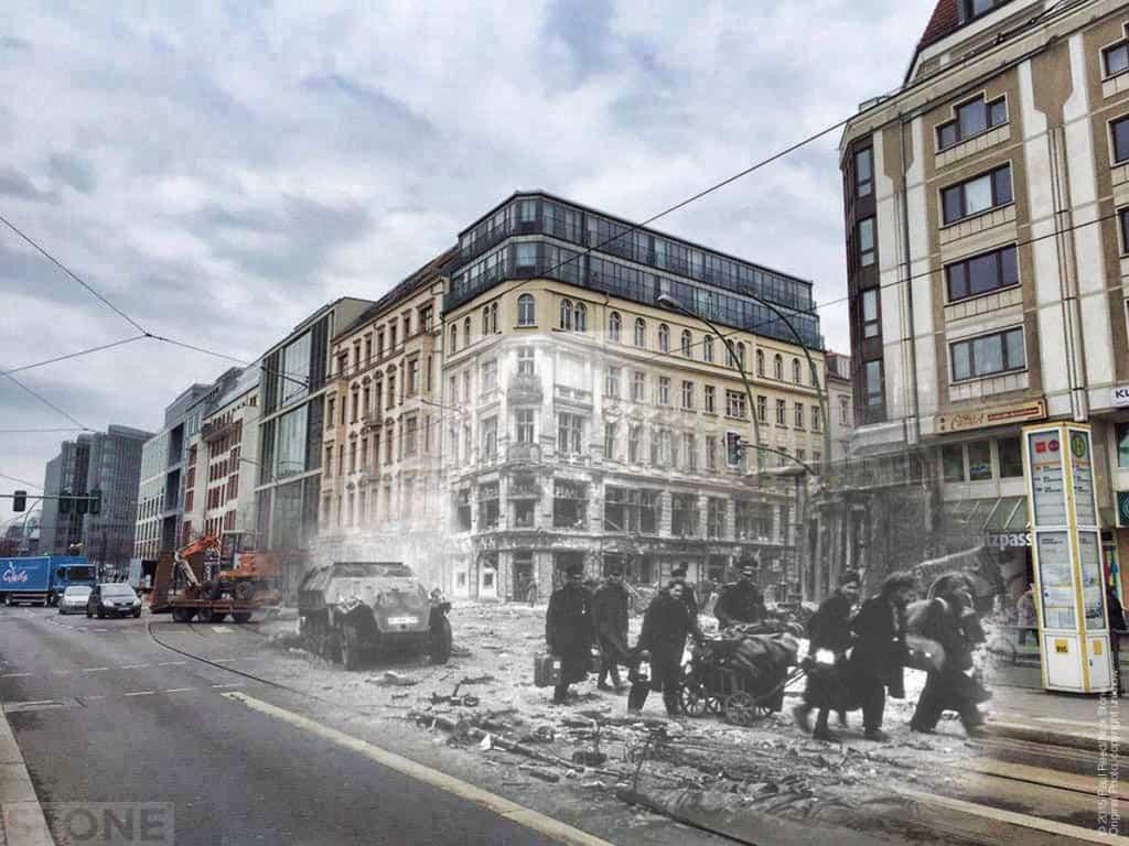 Refugees at the junction of Reinhardtstraße and Friedrichstraße, Berlin 1945.