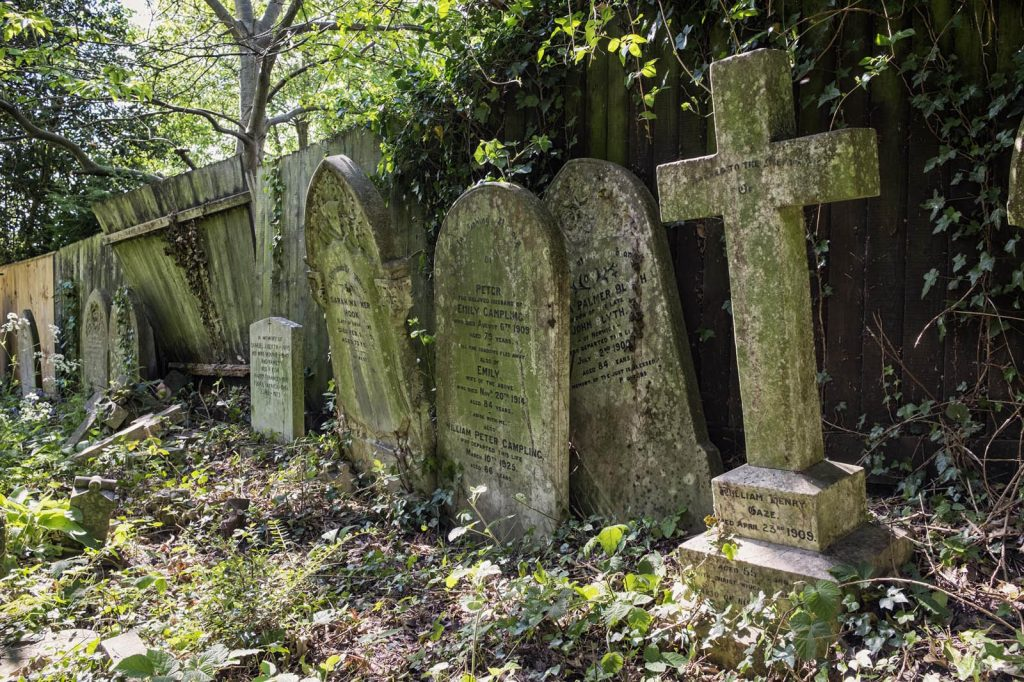 Rosary Cemetery, Norwich, Gravestones lining the old drive