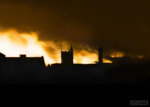 Norwich Blitz, 1942. The city burns.