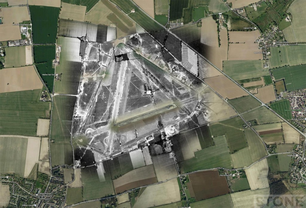 Aerial photograph of Ludham airfield, 2 July 1942. Photograph taken by No. 8 Operational Training Unit, sortie number RAF/FNO/35 Overlaid ontop Googlemap