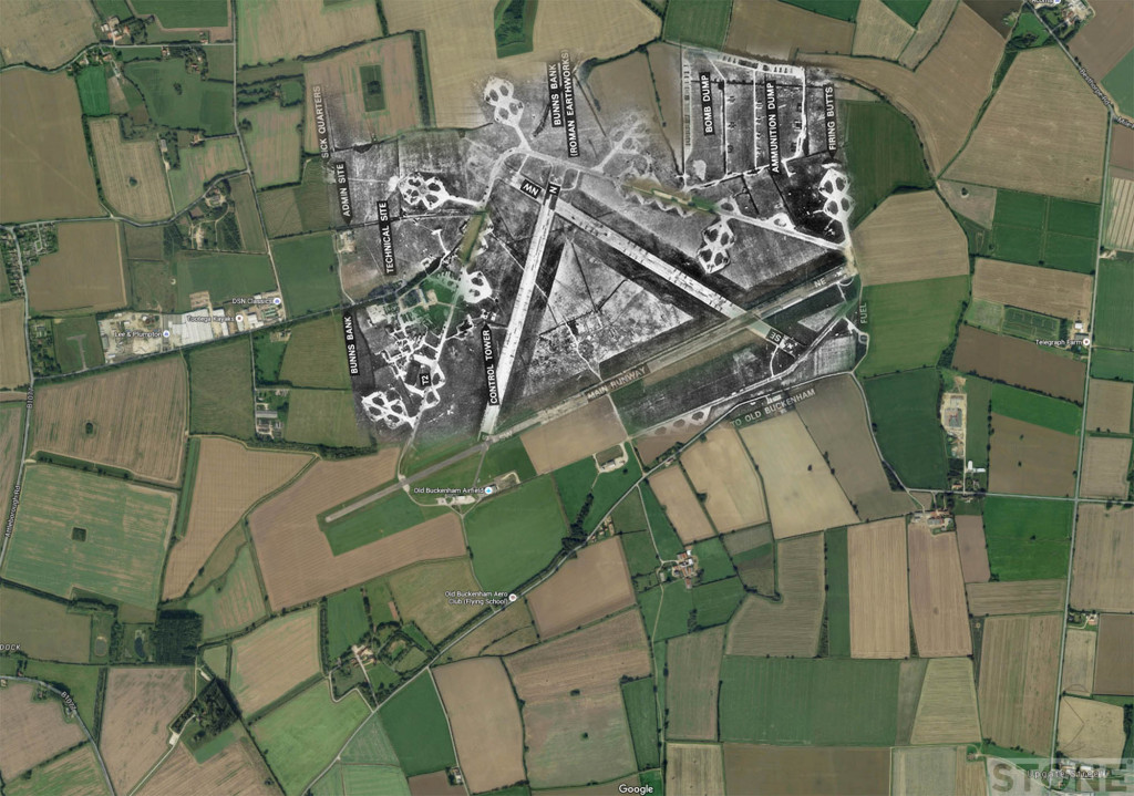 RAF Old Buckenham Map Overlay Ghost © Nick Stone