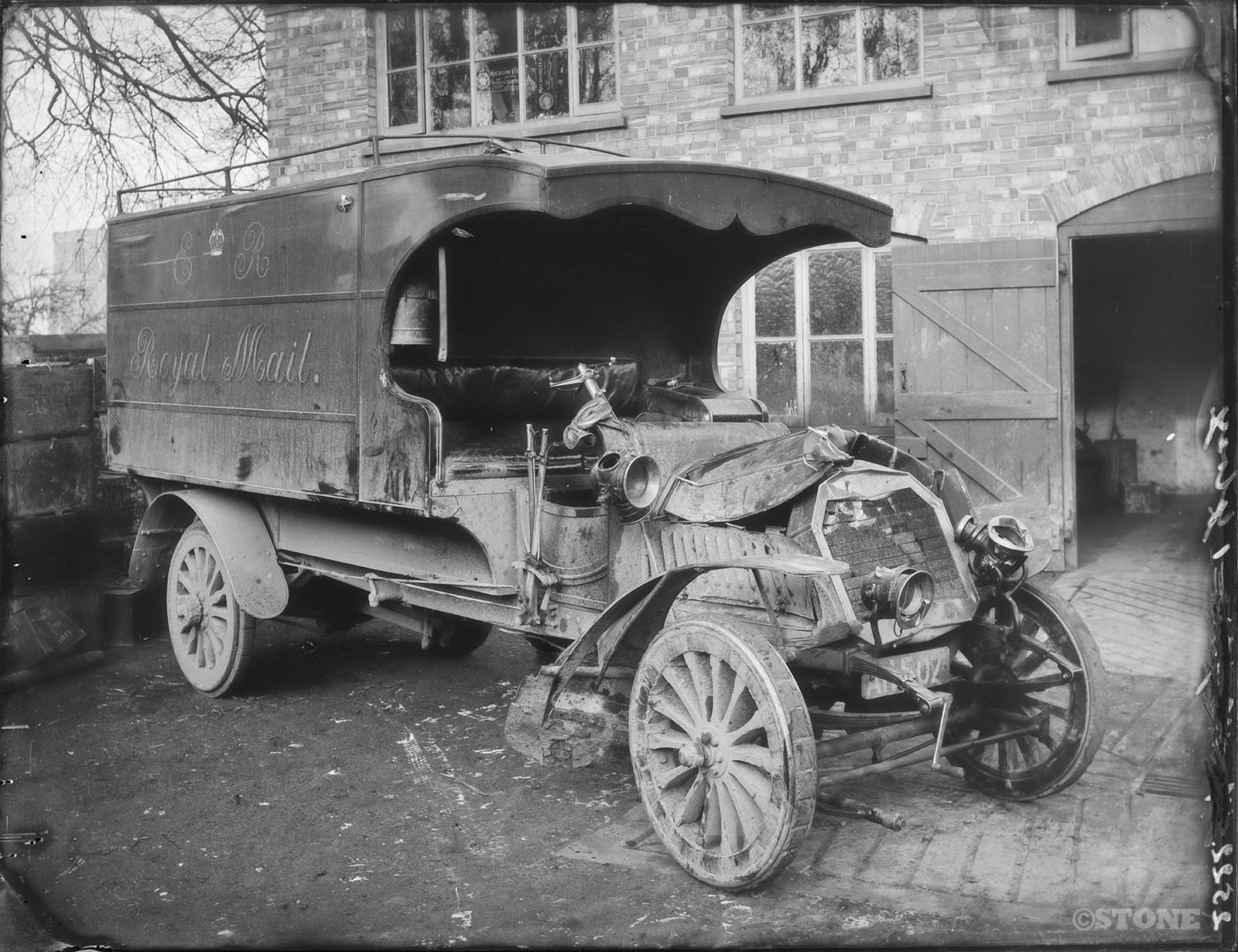 Herbert Thomas Cave - glass plate Royal Mail van